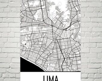 Lima Map, Lima Art, Lima Print, Lima Peru Poster, Lima Wall Art, Lima Poster, Lima Gift, Lima Decor, Lima Map Print, Lima Map Art, Art Print