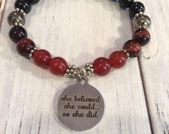 Strength & Determination Bracelet, Intention Bracelet,  Wrist Mala for Motivation, Strength, Determination, Vitality, Goal Achievement