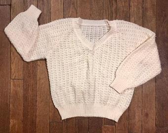 Mesh knit V neck Wool Sweater