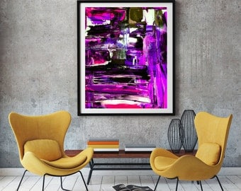 Purple abstract art print Colorful purple and blue print oil painting print for abstract wall decor in purple abstract oil paintings UK