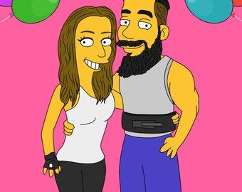 Valentines Day Gift, Custom Portrait, Couple Gift, Valentines Decor, For Him, For Her, Custom Caricature, Couple Portrait, Simpsons Custom