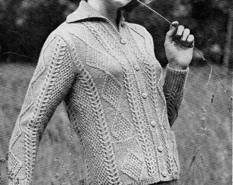 womens aran cardigan sweater knitting pattern PDF ladies aran jacket polo neck jumper Vintage 50s 34-38inch DK light worsted 8ply download