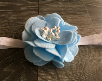 BLUE FELT HAIRBOW, Hairbows, Light Blue Hairbow, Felt Hair Bow, Flower Headband, Baby Girl Headband, Baby Bows, Baby Headband,