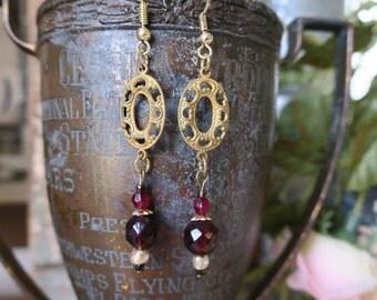 Ruby vintage brass earrings