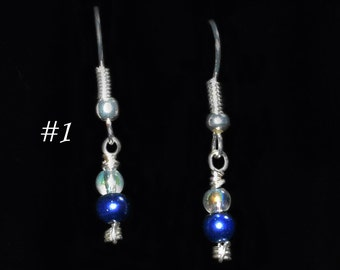 Simple Fishhook Earrings - blues