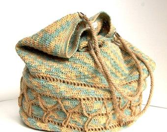 Crochet linen shoulderbag bag - Linen and hemp bag