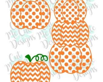 SVG DXF PNG cut file cricut silhouette cameo scrap booking Stacked Pumpkins Pumpkin Bundle Dots and Chevron