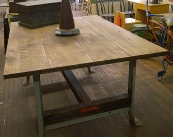 Reclaimed Wood & Metal Harvest Table