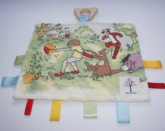 Winnie the Pooh and friends sensory/taggy teething baby blanket with organic wooden teething bear