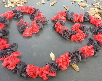 Red and Black Hot Shot Ruffle Scarf