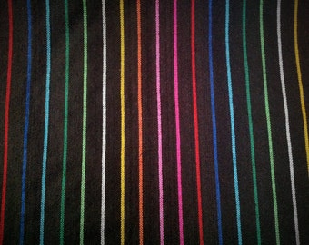 Mexican Fabric Black Cambaya Serape Ethnic Zarape Colorful Stripes By the Yard