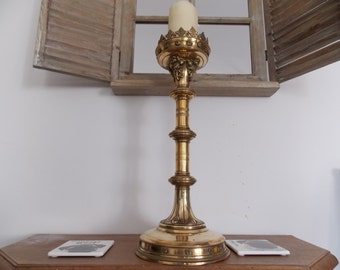Large French brass church candle stick / holder