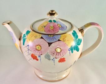 30% SALE! Cheerful vintage hand painted tea pot, Sadler, 1950s