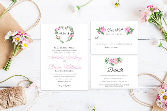 Floral wedding invite word_10,INSTANT DOWNLOAD, Editable Wedding template invitation. Microsoft Word template.Wedding Printable