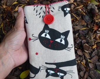 Cats iPhone 7 Sleeve, iPhone 6 Fabric case,  iPhone SE, iPhone 5 cover, Protective  iPod Touch 6g case, Fabric case iPhone 7 Plus Black cats