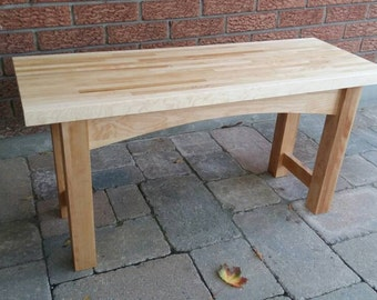Handcrafted Wood Bench, Entry Bench, Maple Bench, Free Shipping, Reclaimed Lumber Bench