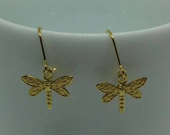 Silver earrings with gold-plated and raw brass Dragonfly charms