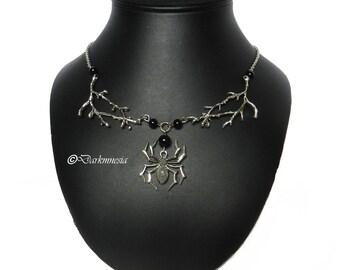 Necklace, onyx, spider, black, beads, branch, tree, pendant, goth, gothic, satanic