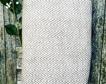 HOUSE OF BEULAH Herringbone Blanket & Throw - 100% Cashmere, Mocha