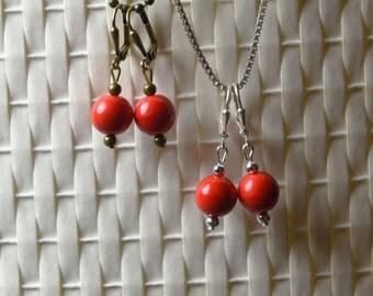 Poppy Czech Glass Dangle Earrings