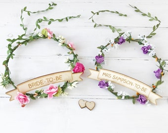 Hen Party Flower Crown With Personalised Sign