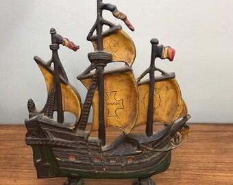 SALE! Metal Ship- Vintage Boat- Old World