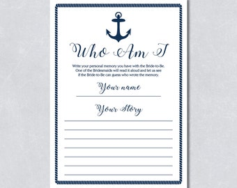 Who am I / favorite memories with the bride to be / Bridal shower game / Nautical navy blue / Anchor / Beach themed / INSTANT DOWNLOAD