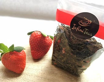 Strawberry Tea, Green Tea with Strawberry & Papaya, Special Edition, Serve Hot or as Iced Tea, Refreshing Drink, Healthy Tea, InfiniTeas