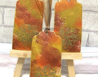 Gift tags, name tags, thanksgiving, Wrapping, packaging, autumn, warm colours, Fall, gold embossing