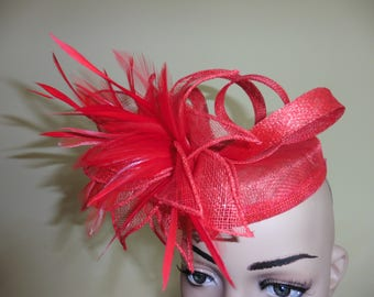 Red Pillbox,Red Hat,Red Wedding Hat,Red Fascinator,Red Ascot Hat,Red Race Hat,Wedding Hat,Ascot Hat,Occasion Hat,Pillbox Hat