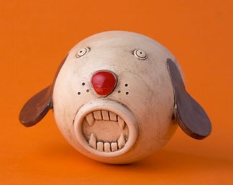 """Ceramic Mug Cup """"Monster Cup Dog"""", dog, made on a lathe and hand-molded, food, ok for dishwasher"""