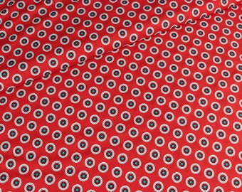 Cotton Lia flower circles on red (9,90 EUR / meter)