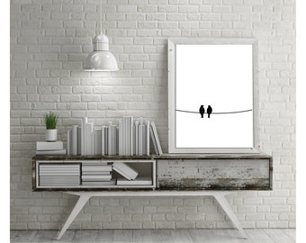 Love birds, Two birds on a wire, Birds, downloadable, Printable, Home decor, Printable art, Digital download