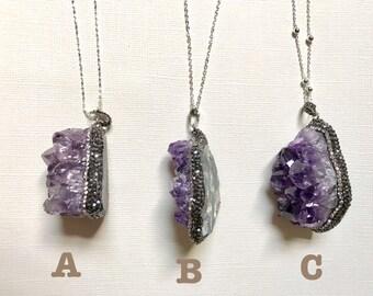 Sale! Amethyst necklace, Raw Amethyst, Druzy Amethyst, Sterling Silver Amethyst, February Birthstone