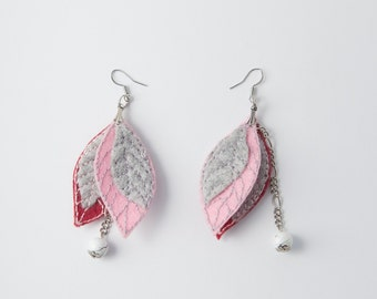 Earrinngs from pink burgundy gray felted leaves , hand embroidery, felt jewellery