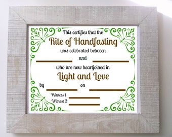 Wicca Pagan Handfasting Certificate Green Brown PDF 8x10 Printable Celtic Wedding Sign