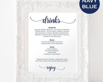 Wedding Signature Drink Sign - Signature Cocktail Sign - Signature Drinks Printable - Navy Wedding - Downloadable wedding #WDH812248