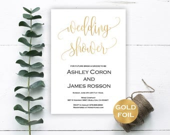 Bridal Shower Invitation - Wedding Shower Template - Gold Wedding Shower Invitation - Downloadable wedding #WDH812252