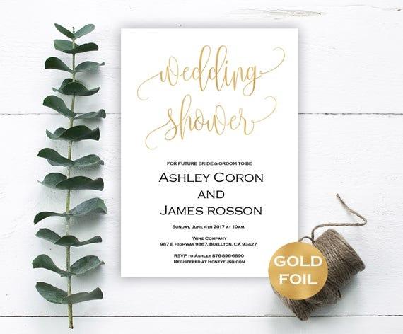 Gold Wedding Shower Invitation