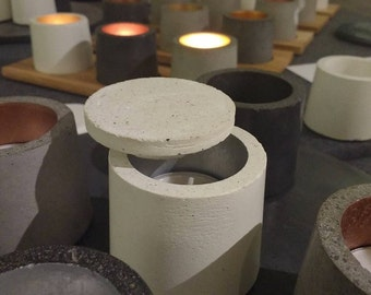 White Concrete 'Hygge' Candle holder with Silver Interior and Snuffer. Danish Design, Irish Made