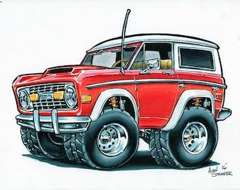 Red Bronco - Original drawing - Matted & Bagged
