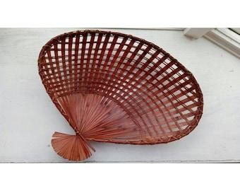 Woven Wicker Fanned Basket Catch Tray-Boho Decor