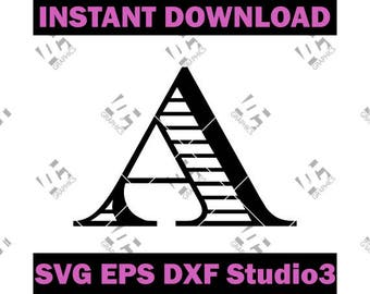Fancy Monogram Alphabet Font - Cutting  File in SVG, EPS, DXF, Studio3 - Cricut, Silhouette Cameo Studio - Make The Cut- Instant Download