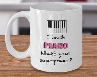 I Teach Piano Pink Mug
