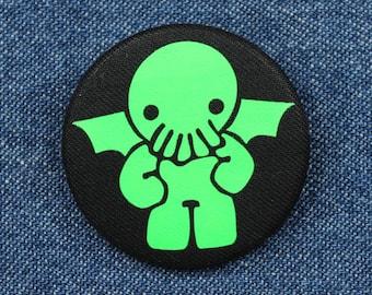 "1.5"" Chibi Kawaii Cthulhu Fabric Button –Cute Cthulhu Button –Cute Cthulhu Pin –Chibi Cthulhu Button –Chibi Cthulhu Pin –Baby Cthulhu Button"