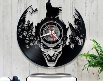 Batman Vinyl Clock/Joker Wall Clock/Vinyl Record Clock *V072 Batman Gift/Unique Wall Clock/Original Clock/Gift for Boyfriend