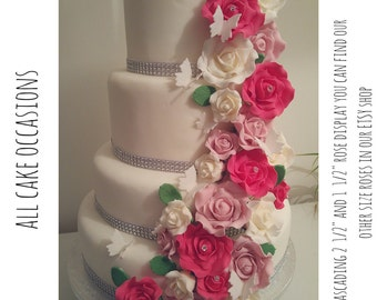 Handmade Wired Sugar Roses Available in White-Ivory-Dusky-Pale pink Or Fuchsia Perfect for Wedding-Annivessary And Birthday Cakes