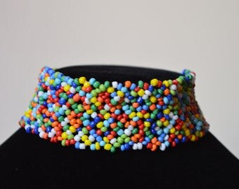 African Maasai Beaded Choker Necklace | African Choker Necklace | Tribal jewelry | Multi color Necklace | One size fits all | Gift for Her