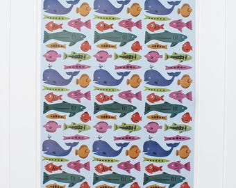 Wrapping Paper-Sealife Wrapping Paper-Ocean Wrapping Paper-Fish Wrapping Paper-Cute Giftwrap-Wrapping Sheets-Underwater Giftwrap