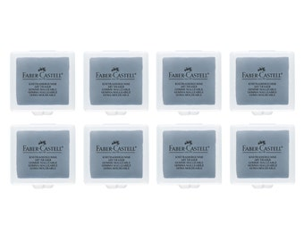 8 Faber Castell Knetradiergummi Kneadable Art Eraser Grey | Pastel Charcoal Pencil Graphite Design Rubber Putty | Art Craft